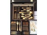 63 piece Unused 24 Carat Gold Plated Set in key combination brief case £90 ONO