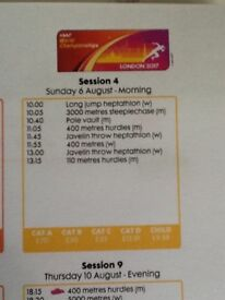 2 x Tickets for IAAF World Athletics (Sunday 6 August morning session)