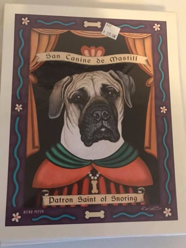 San Canine de Mastiff - Retro Pets 8x10 Art Print - Krista Brooks Works of Arf