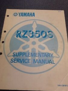 Yamaha RZ350S Supplementary service manual