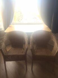 2 beautiful bamboo wicker chairs