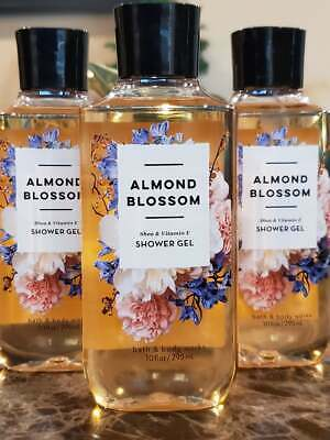 3 Bath & Body Works ALMOND BLOSSOM Shower Gel Body wash  10 oz Almond Shower Gel