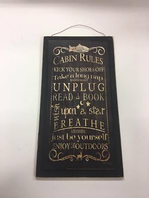 Cabin Rules wooden sign Lodge lake house decor decorations enjoy the outdoors