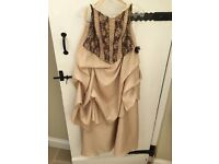 Prom Dress - Champagne with chocolate lace 2 piece with shawl - SIZE 10