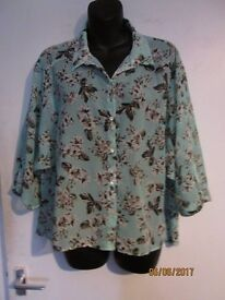 BEAUTIFUL MINT GREEN FLOWERED PATTERNED THREE QUARTER SLEEVE BLOUSE SIZE 14 BY GEORGE