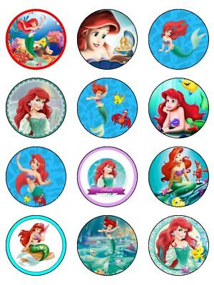 24 LITTLE MERMAID Edible Cupcake Toppers Wafer Paper Birthday Cake Decorations