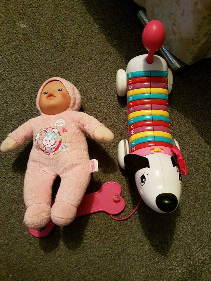 pull along dog and doll