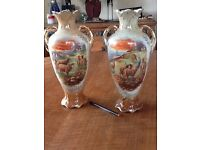 victorian pair of vases.. sheep picture