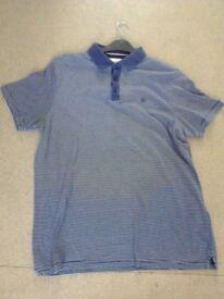 mans next blue & white stripe short sleeve polo shirt size large