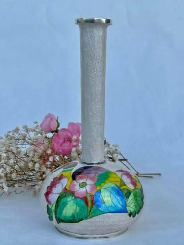 Korean Sterling Silver Enamel Vase Duck and Flowers Decor
