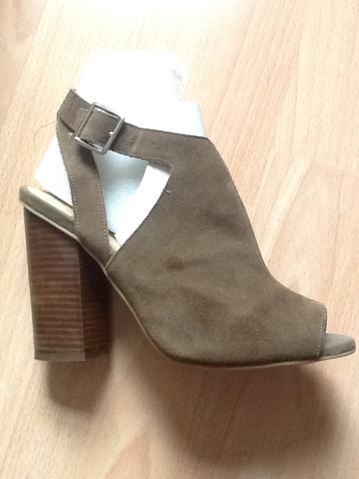 Khaki suede stack heel peep toe ankle boot, size 6