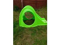 Green bug slide with steps and tunnel for toddlers