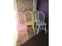Set of 4 Daisy chairs In 2 Yellow, a Blue and a Pink 4 Shabby Chic Dining Chairs