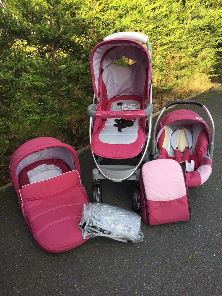 EXDISPLAY HAUCK MALIBU 3 IN 1 TRAVEL SYSTEM PRAM PUSHCHAIR IN TRIO PINK FROM BIRTH REDUXED TO £165