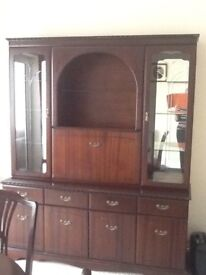 Mahogany unit, extending table ,4 chairs in good condition