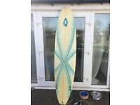 8ft Fibreglass Surfboard with Bag & Leg Rope