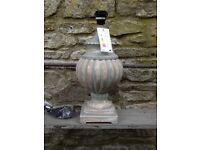 Brand new in box Large One World Shabby Chic Mango Wood Lamp Base Blue Grey Wash 46 cm high RRP £115