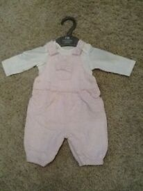 Mothercare Baby girls pink dungarees and body suit - New baby to 10lbs/4.5kgs