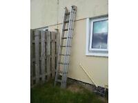Triple extending aluminium ladder £80