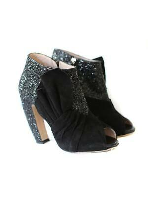 MIU MIU Sequin Suede Low Ankle Boots Size 39