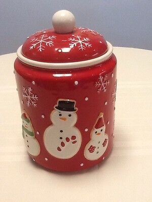 """Hallmark Red & White Holiday Snowman Cookie Jar Canister Christmas 9 1/2"""""""