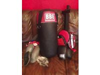 Boxing kit - BBE punch bag, gloves, punch ball, pads, protectors and wall bracket