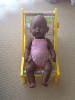 Dark skin baby born doll and chair Fletcher Newcastle Area Preview