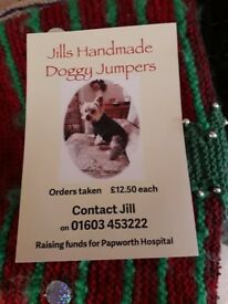 Hand made knitted dog jumpers - prices from £12.50