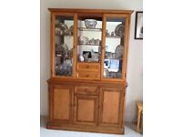 Display cabinet in nice condition, glass shelving with lighting and cupboards