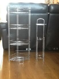 Heavy gauge chrome corner shelf plus toilet roll holder with store, both very good condition