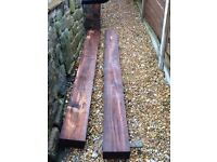 2 hardwood railway type sleepers, unused, each 8 feet in length,attractive mid brown colou