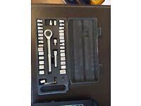"Ratchet Socket Set 52PC 1/4"" 3/8"" Drive Sae Metric Ratchet Extension Car Garage Tool Box"