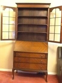 Antique Writing Bureau with Glass fronted Bookcase/Display Cabinet