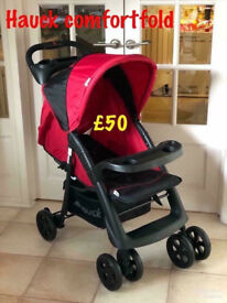 Exdisplay Hauck shopper Neo pram pushchair buggy stroller ideal for holiday red black lightweight