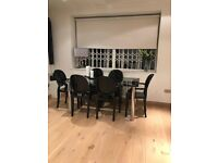 Glass Dining Table and modern black CHAIRS