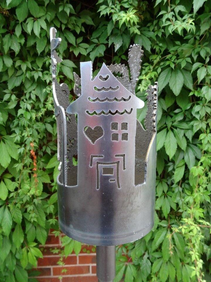 Gartenfackel Hexenhaus Set inkl. Stiel und Wachsrolle für Garten und Terrasse
