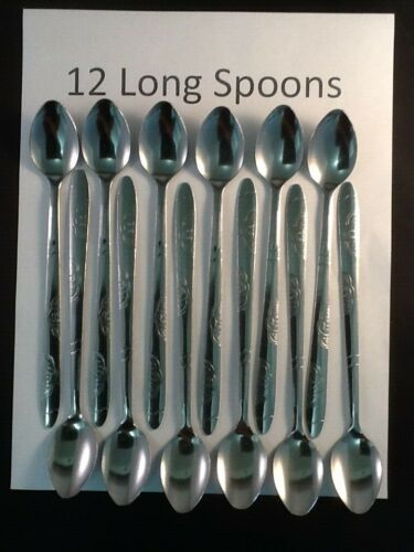 "Twelve 12 Iced Tea Spoons Stainless Steel Long Handle Ice Tea Coffee 7.5""  LLwei"