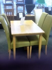 4FT PINE TABLE AND 4 OLIVE GREEN FABRIC CHAIRS