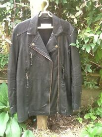 Whistles leather biker jacket size 8