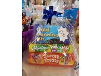 gold panning set with sweets wrapped up in cellophane, £3.50