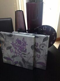 Purple bundle 3 vases, clock and 2 x canvases