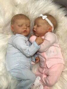 Reborn Baby Dolls Twin A and Twin B by Bonnie Brown