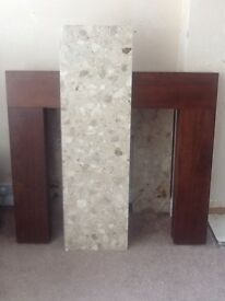 Marble effect fire back and plinth +walnut effect mantle