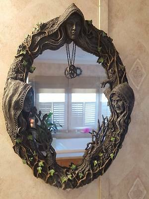 Maiden Mother Crone Goddess 17 inch Mirror Wiccan Pagan Witch Magic Ritual Decor