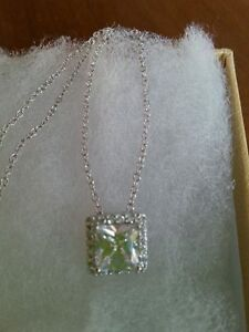 STERLING DIAMONELLE CUSHION CUT HALO PENDANT AND CHAIN