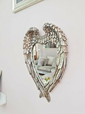 Vintage Angel Wings Cherub Wall Mirror Shabby Chic Heart Shaped Vanity Mirror ()