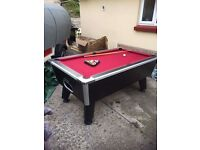 NOW REDUCED Red pool table with all balls and triangle etc