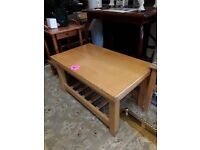 Solid wood coffee table Copley Mill LOW COST MOVES 2nd Hand Furniture STALYBRIDGE SK15 3DN