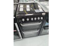 HOTPOINT Cooker 50cm Gas Double Oven 4 Burner Black