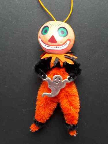 Sneaky JOL with ghost chenille vintagey Halloween Tree ornament